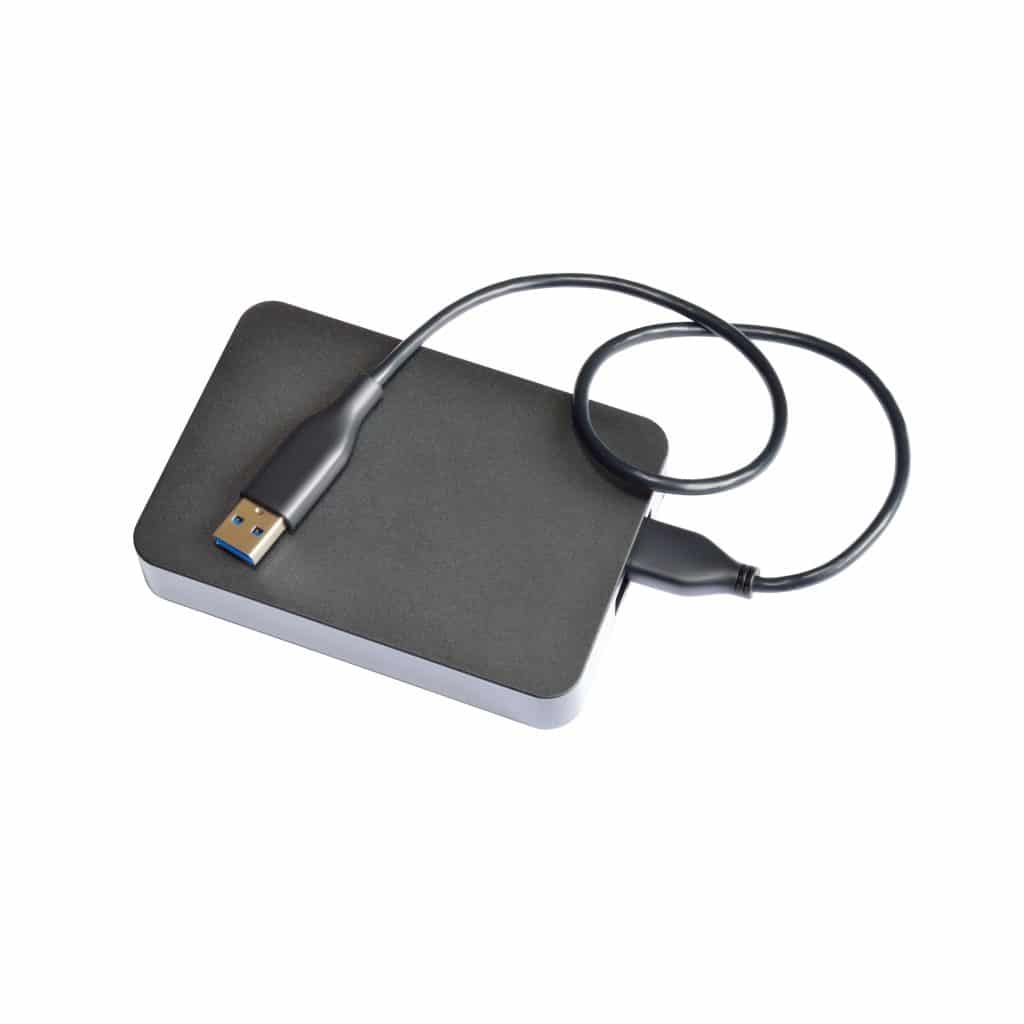 External hard drive isolated on white background w/ path